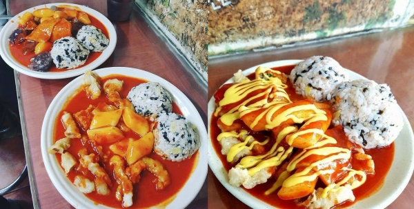 Customized menu with tteokbokki, jumeok-bab (rice ball), tangsuyuk, sundae (Korean style blood sausage), etc.