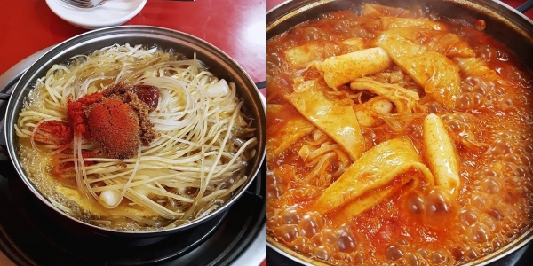 Instant tteokbokki with a lot of glass noodles and chewy noodles in Jorongbak Tteokbokki